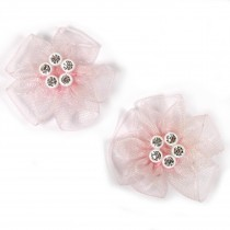 Sheer Ribbon Flowers with Diamante Circle Detail 3cm wide Pale Pink Pack of 2