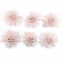 Sheer Ribbon Flowers with Diamante Circle Detail 3cm wide Pale Pink Pack of 6