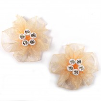 Sheer Ribbon Flowers with Diamante Circle Detail 3cm wide Peach Pack of 2