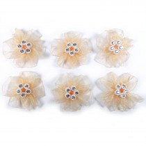 Sheer Ribbon Flowers with Diamante Circle Detail 3cm wide Peach Pack of 6