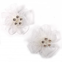 Sheer Ribbon Flowers with Diamante Circle Detail 3cm wide White Pack of 2