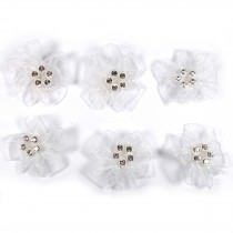 Sheer Ribbon Flowers with Diamante Circle Detail 3cm wide White Pack of 6
