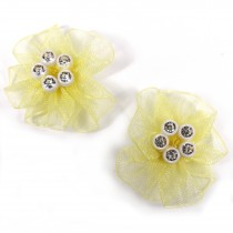 Sheer Ribbon Flowers with Diamante Circle Detail 3cm wide Yellow Pack of 2