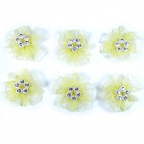 Sheer Ribbon Flowers with Diamante Circle Detail 3cm wide Yellow Pack of 6