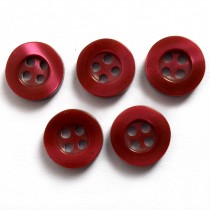 Shiny 4 Hole Shirt Buttons 11mm Burgundy Pack of 5