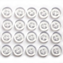 Shiny 4 Hole Shirt Buttons 11mm Clear Pack of 20
