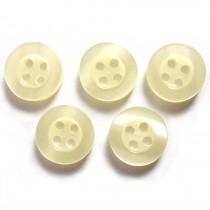 Shiny 4 Hole Shirt Buttons 11mm Ivory Pack of 5