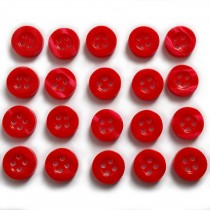 Shiny 4 Hole Shirt Buttons 11mm Red Pack of 20