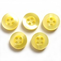 Shiny 4 Hole Shirt Buttons 11mm Yellow Pack of 5