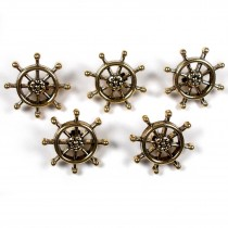 Ships Wheel Nautical Buttons 15mm wide Gold Pack of 5