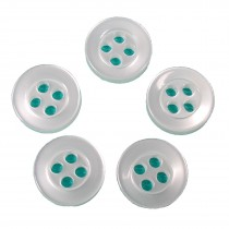 Basic Shirt Buttons 4 Hole Round 11mm White Pack of 5