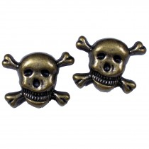 Metal Skull and Crossbones Buttons 21mm Bronze Pack of 2