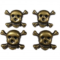 Metal Skull and Crossbones Buttons 21mm Bronze Pack of 4