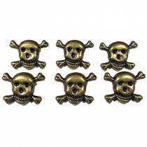 Metal Skull and Crossbones Buttons 21mm Bronze Pack of 6