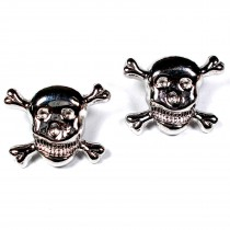 Metal Skull and Crossbones Buttons 21mm Silver Pack of 2
