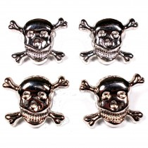 Metal Skull and Crossbones Buttons 21mm Silver Pack of 4