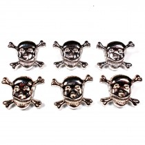 Metal Skull and Crossbones Buttons 21mm Silver Pack of 6