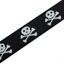 Skull & Crossbones Pirate Halloween Ribbon 15mm wide Black & White 1 metre length