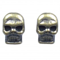 Metal Skull Buttons 12mm x 9mm Antique Bronze Pack of 2