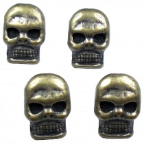 Metal Skull Buttons 12mm x 9mm Antique Bronze Pack of 4