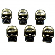 Metal Skull Buttons 12mm x 9mm Antique Bronze Pack of 6