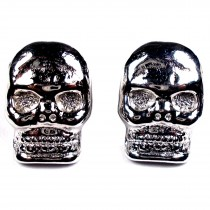 Metal Skull Buttons 12mm x 9mm Silver Pack of 2