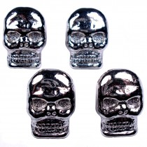 Metal Skull Buttons 17mm x 12mm Silver Pack of 4