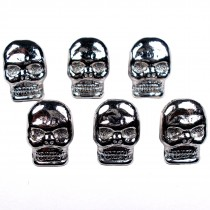 Metal Skull Buttons 17mm x 12mm Silver Pack of 6