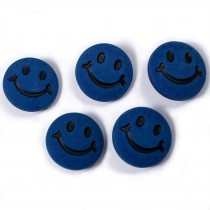 Smiley Face Round Buttons 15mm Dark Blue Pack of 5