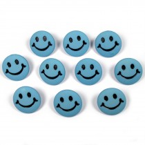 Smiley Face Round Buttons 15mm Pale Blue Pack of 10