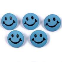 Smiley Face Round Buttons 15mm Pale Blue Pack of 5