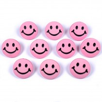 Smiley Face Round Buttons 15mm Pink Pack of 10