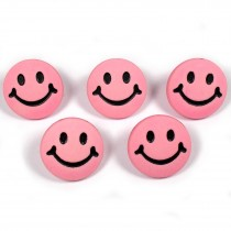 Smiley Face Round Buttons 15mm Pink Pack of 5