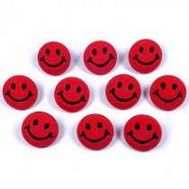 Smiley Face Round Buttons 15mm Red Pack of 10