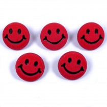 Smiley Face Round Buttons 15mm Red Pack of 5