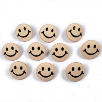 Smiley Face Round Buttons 15mm Taupe Pack of 10
