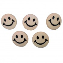Smiley Face Round Buttons 15mm Taupe Pack of 5
