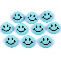 Smiley Face Round Buttons 15mm Turquoise Pack of 10
