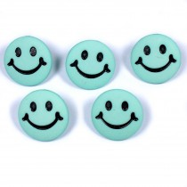 Smiley Face Round Buttons 15mm Turquoise Pack of 5