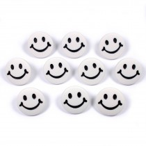Smiley Face Round Buttons 15mm White Pack of 10