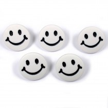Smiley Face Round Buttons 15mm White Pack of 5