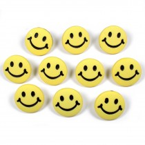 Smiley Face Round Buttons 15mm Yellow Pack of 10