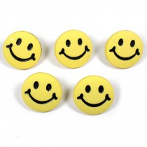Smiley Face Round Buttons 15mm Yellow Pack of 5