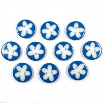 Splat Daisy Flower Round 2 Hole Buttons 12mm Dark Blue Pack of 10