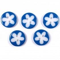 Splat Daisy Flower Round 2 Hole Buttons 17mm Dark Blue Pack of 5