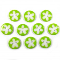 Splat Daisy Flower Round 2 Hole Buttons 17mm Green Pack of 10