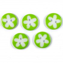 Splat Daisy Flower Round 2 Hole Buttons 17mm Green Pack of 5
