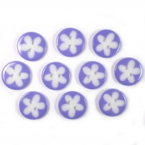 Splat Daisy Flower Round 2 Hole Buttons 17mm Lilac Pack of 10