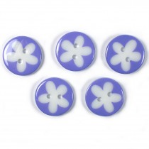 Splat Daisy Flower Round 2 Hole Buttons 17mm Lilac Pack of 5