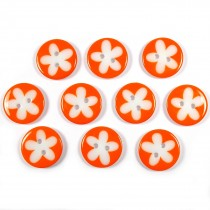 Splat Daisy Flower Round 2 Hole Buttons 12mm Orange Pack of 10